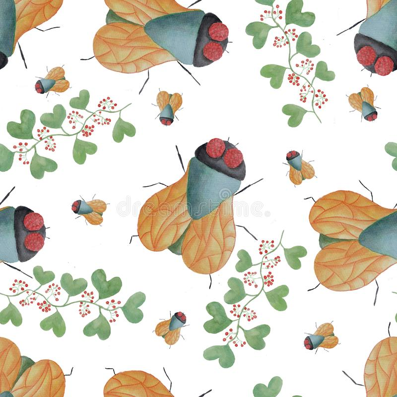 Naadloos patroon van een vlieg en een takje met bladeren en bessen in waterverf vector illustratie