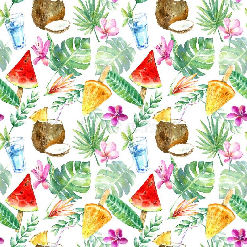 Naadloos patroon van een watermeloen, een oranje roomijs en een kokosnoot, plumeria, monsterabloem vector illustratie