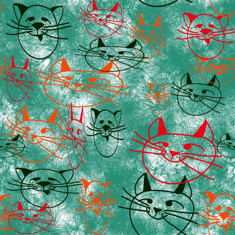 Naadloos patroon van eenvoudige beelden van kattenhoofden stock illustratie