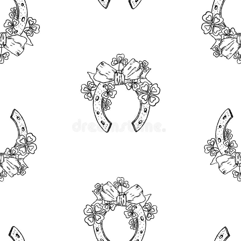 Naadloos patroon van feestelijke hoeven met klaverbladeren en boog vector illustratie