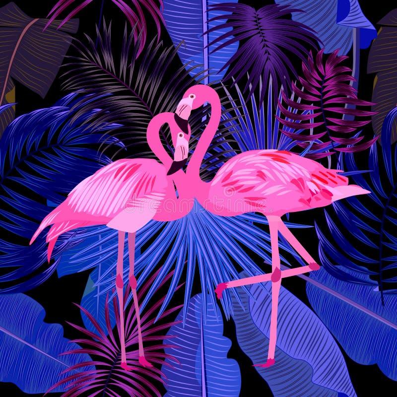 Naadloos patroon van flamingo, bladerenmonstera Tropische bladeren o vector illustratie