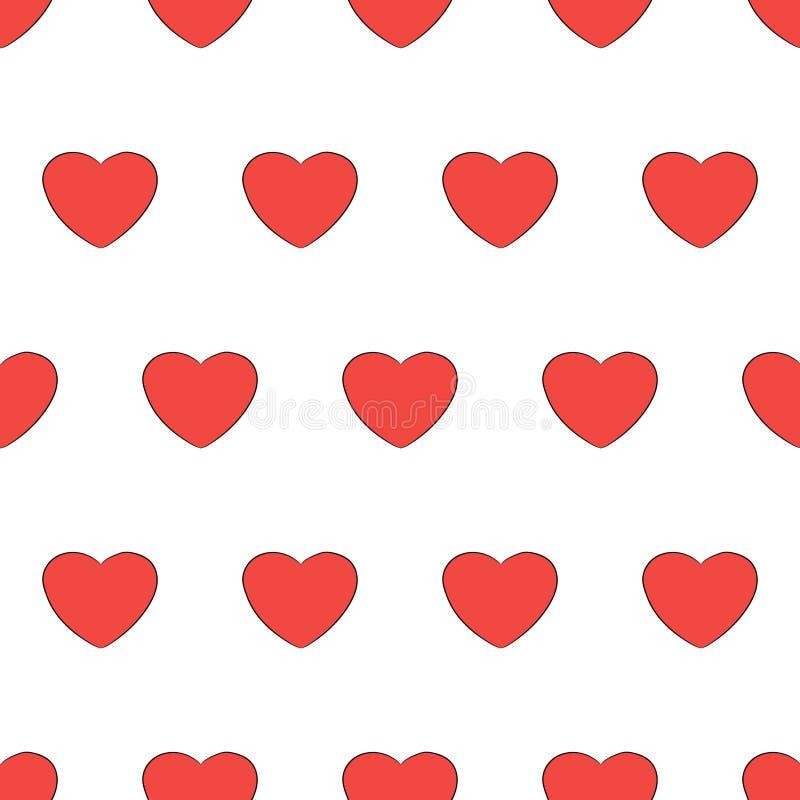 Naadloos patroon van geïsoleerd de liefdeteken van het hart rood pictogram stock illustratie