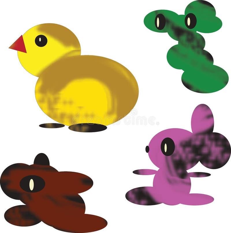 Naadloos patroon van geïsoleerde kleurenelementen op witte achtergrond Gele gestileerde kip en drie fantastische abstracte cijfer stock illustratie