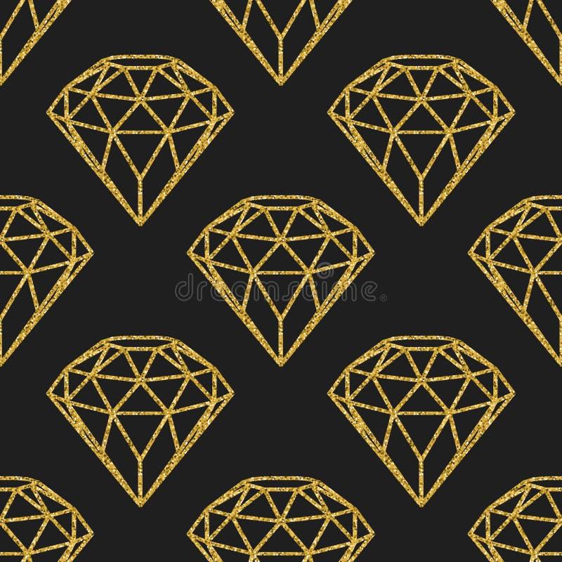 Naadloos patroon van geometrische gouden foliediamanten op zwarte achtergrond Het in ontwerp van hipsterkristallen royalty-vrije illustratie