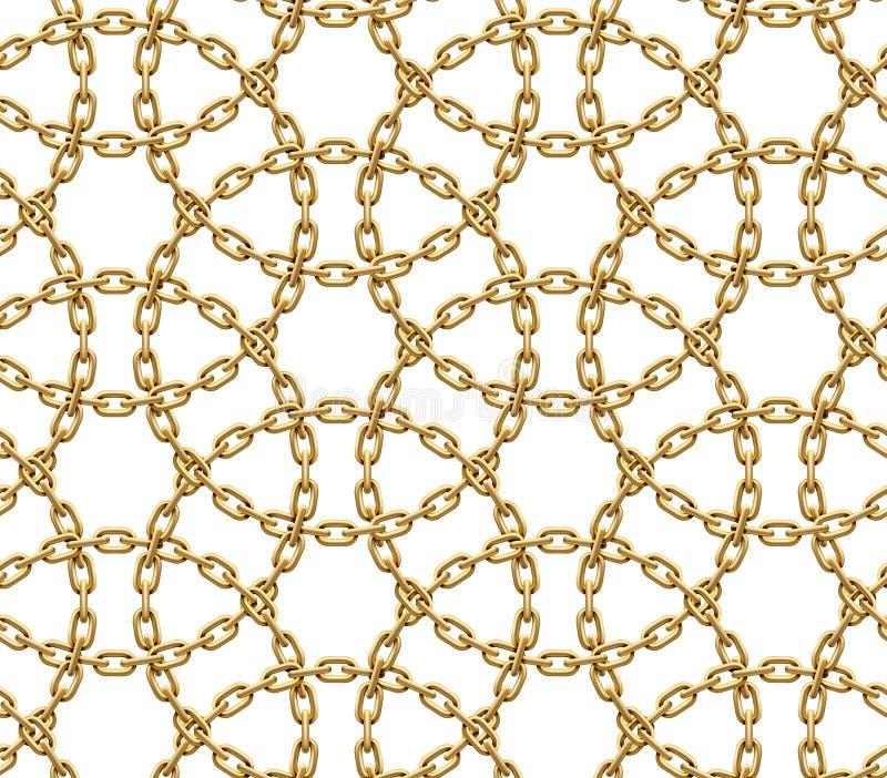 Naadloos patroon van gesneden cirkels van gouden kettingen Vector illustratie stock illustratie