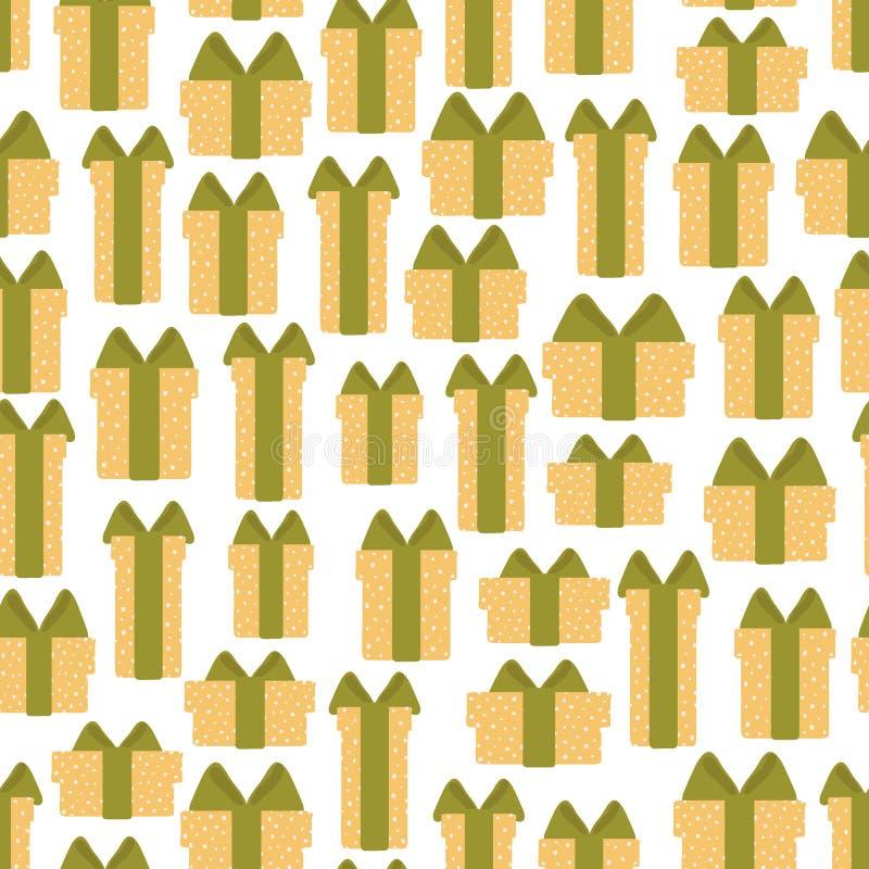 Naadloos patroon van giftdozen op een witte achtergrond Vectorillustratie in beeldverhaal stock illustratie