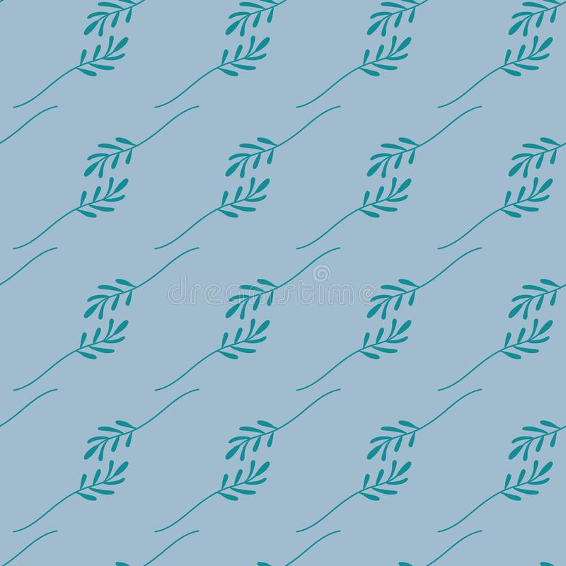 Naadloos patroon van groene bladeren op een blauwe achtergrond Het vectordossier royalty-vrije illustratie