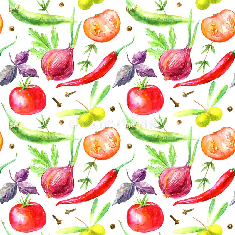 Naadloos patroon van groenten en kruiden Beeld van een peper, olijven, tomaat, basilicum, ui, kruidnagels stock illustratie