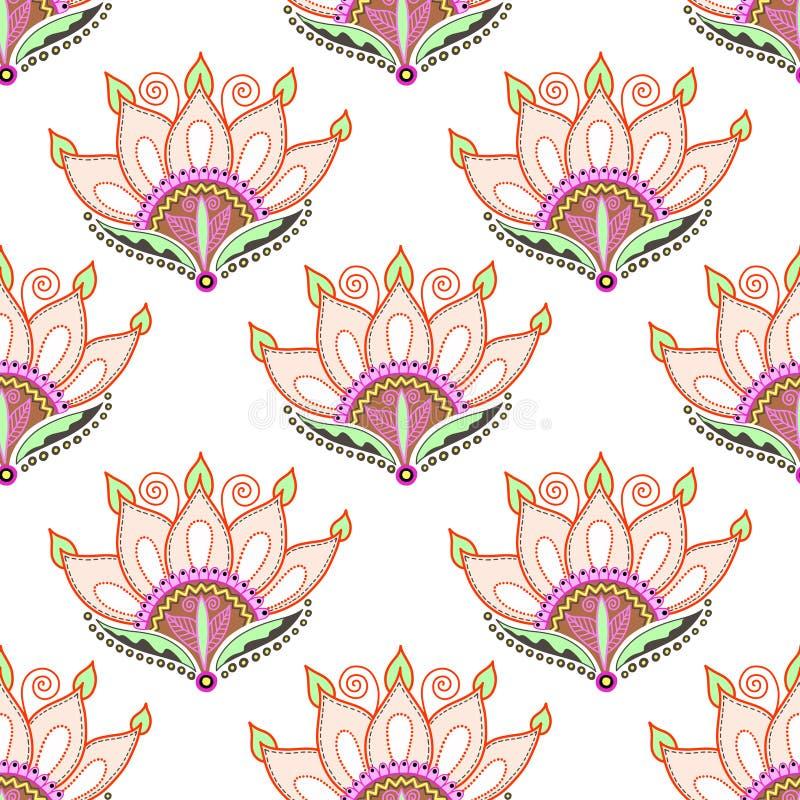 Naadloos patroon van hand die het roze ontwerp van de lotusbloembloem trekken stock illustratie