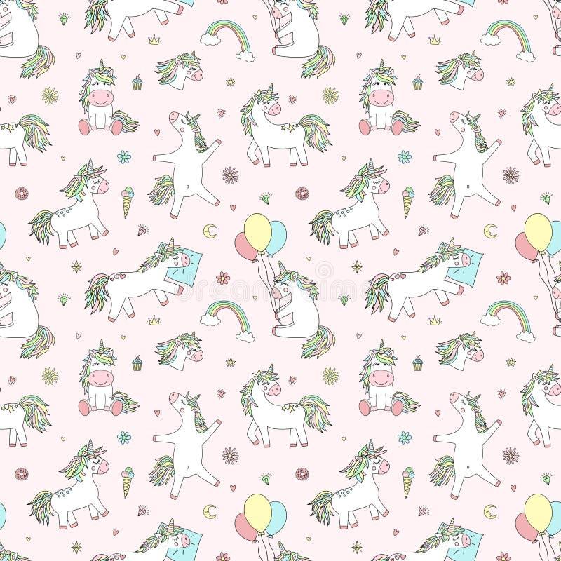 Naadloos patroon van hand-drawn beeldverhaal magische eenhoorns met diamanten, harten, ballons, bloemen, sterren, kronen Vectorbe vector illustratie