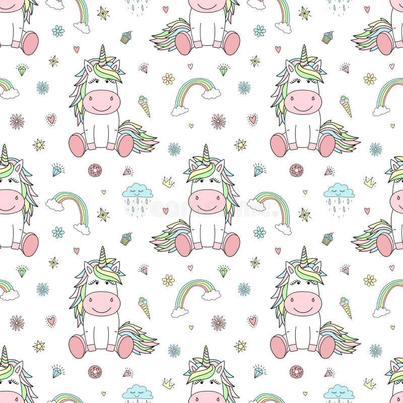 Naadloos patroon van hand-drawn beeldverhaaleenhoorns met regenboog, wolken, diamanten, harten Vectorachtergrondafbeelding voor v vector illustratie