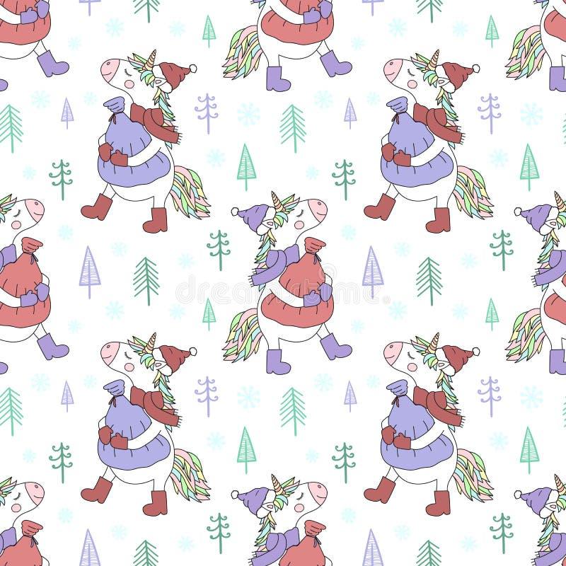 Naadloos patroon van hand-drawn eenhoorn in een GLB, laarzen en een sjaal met een zak van giften Vectorachtergrondafbeelding voor vector illustratie
