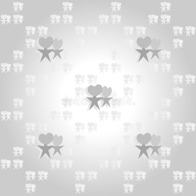 Naadloos patroon van hart en stervormen gelijkend op paren op gradiënt grijze achtergrond Liefde, valentijnskaartenconcepten royalty-vrije illustratie