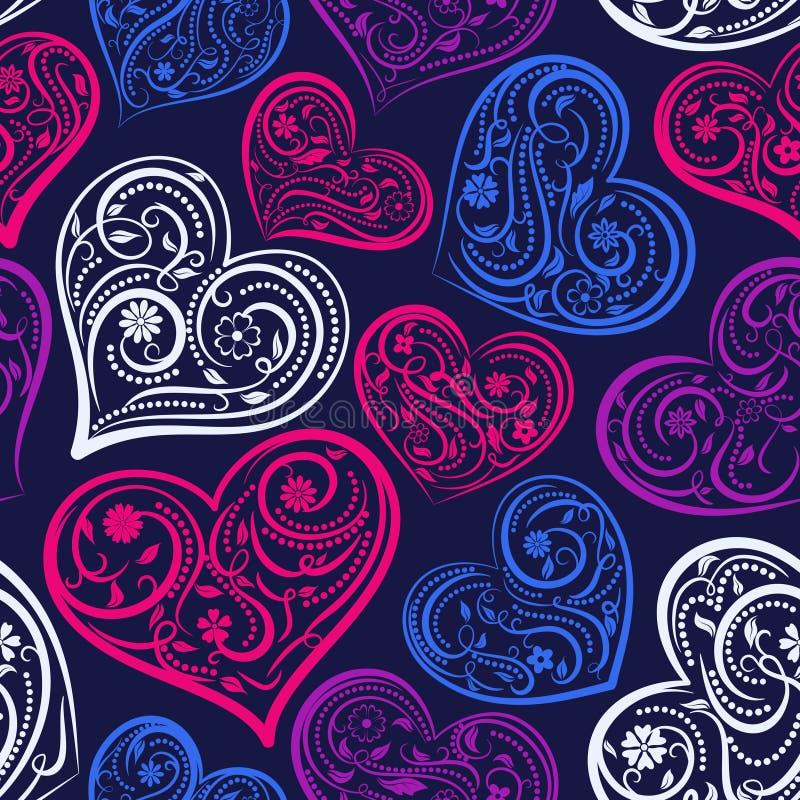 Download Naadloos Patroon Van Harten Vector Illustratie - Illustratie bestaande uit bloem, blauw: 107700441