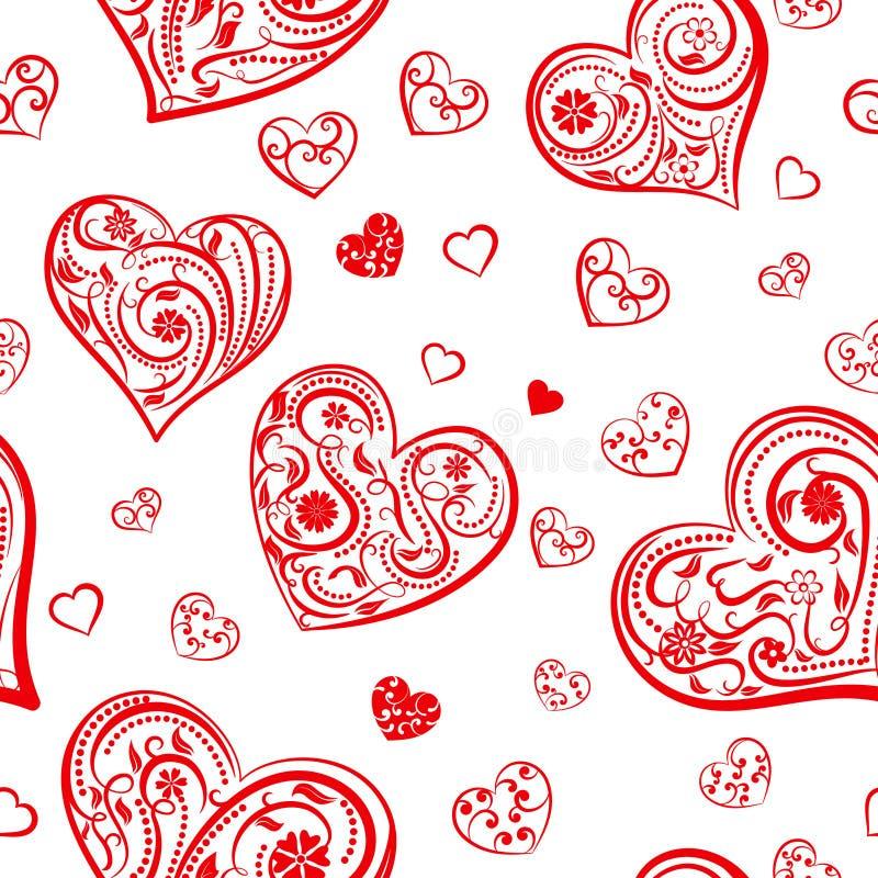 Download Naadloos Patroon Van Harten Vector Illustratie - Illustratie bestaande uit harten, krul: 107700578