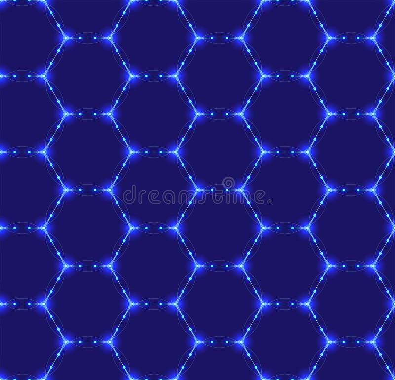 Naadloos patroon van het hexagonale neon opleveren Lichtgevende deeltjes Futuristische textuur Geometrisch, modern, technologieve stock illustratie