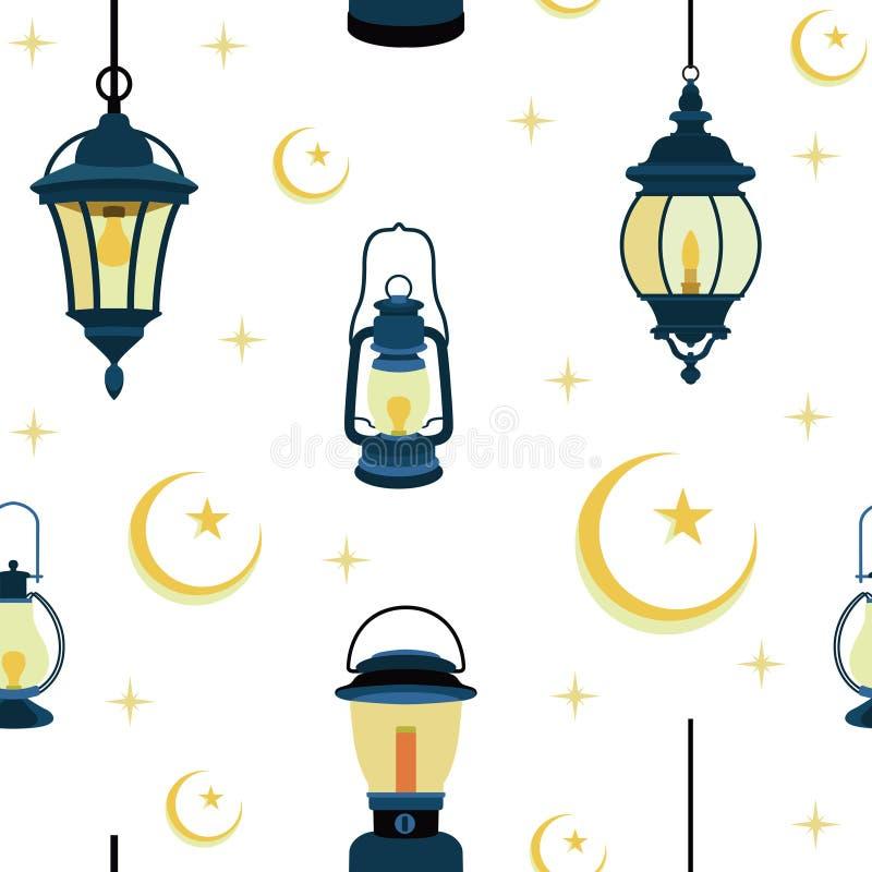 Naadloos Patroon van Islamitische Lantaarn met Crescent Background Illustration stock illustratie