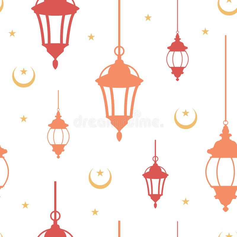 Naadloos Patroon van Islamitische Lantaarn met Crescent Background Illustration vector illustratie