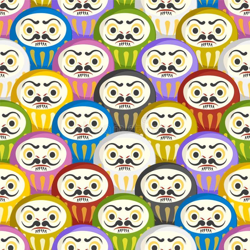 Naadloos patroon van Japanse Daruma-poppen stock illustratie