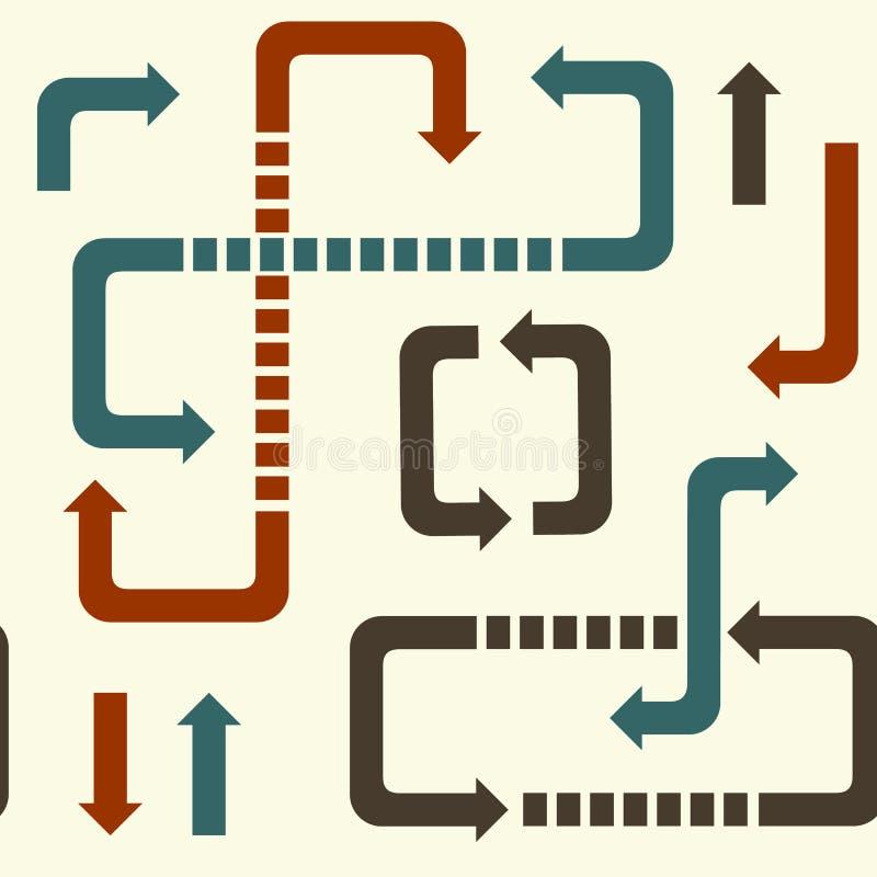 Naadloos patroon van juiste pijlen en richtingen, verlaten tekens, omhoog neer stock illustratie