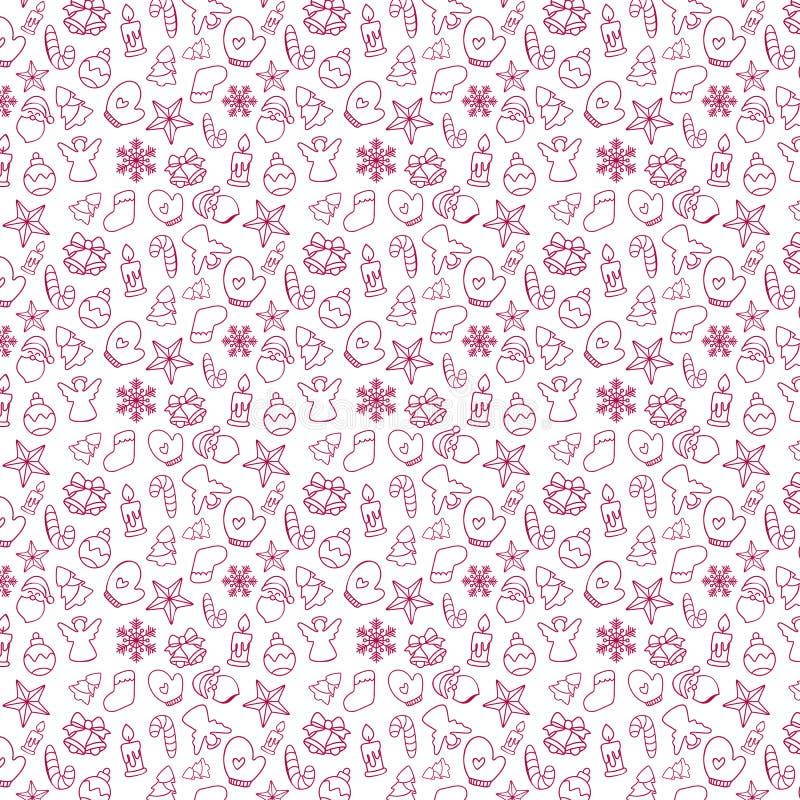 Naadloos patroon van Kerstmis en Nieuwjaarsymbolen op Wit Vector illustratie vector illustratie