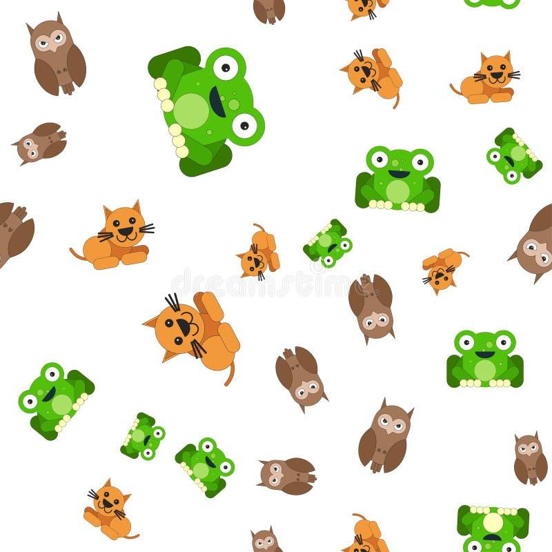 Naadloos patroon van kikkerskatten en uilen vector illustratie