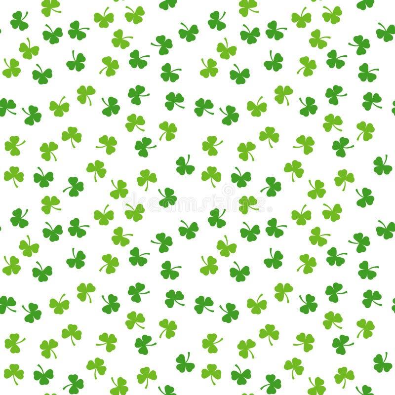 Naadloos patroon van klaverbladeren Willekeurige bloemen vectorachtergrond Groene installatie Traditioneel Iraland-vakantiesymboo stock illustratie