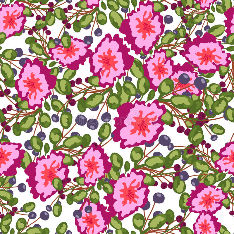 Naadloos patroon van kleine boeketten roze bloemen, blauwe bessen en groene bladeren vectordruk op witte achtergrond stock illustratie