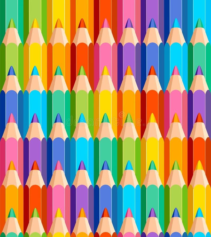 Naadloos patroon van kleurpotloden royalty-vrije illustratie