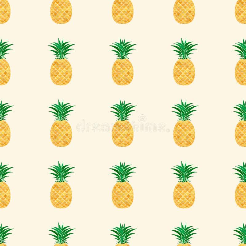 Naadloos patroon van kleurrijke ananas op witte achtergrond stock illustratie