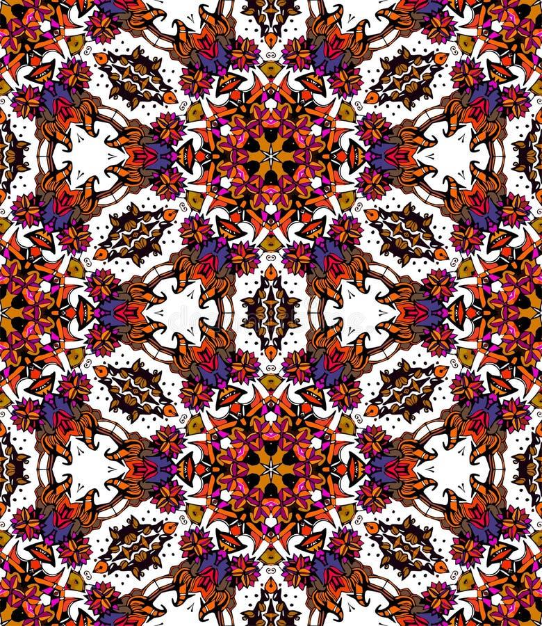 Naadloos patroon van kleurrijke bloemcaleidoscoop royalty-vrije illustratie