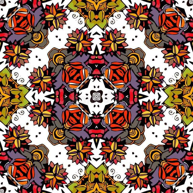 Naadloos patroon van kleurrijke bloemcaleidoscoop stock illustratie