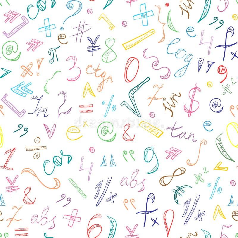 Naadloos Patroon van Kleurrijke Hand Getrokken Krabbelsymbolen en Aantallen De Tekens van de gekrabbelwiskunde vector illustratie