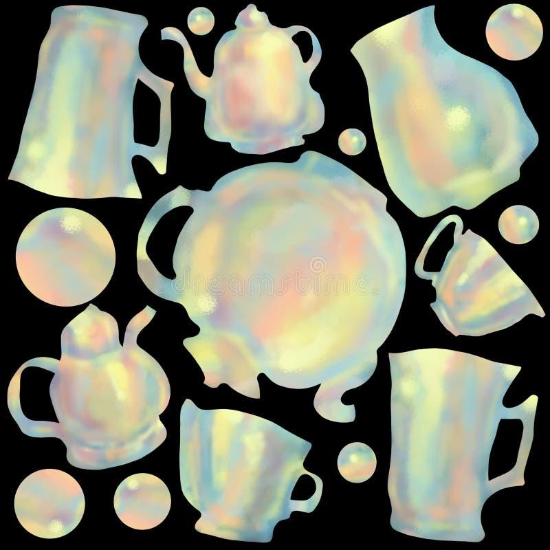 Naadloos patroon van kleurrijke koppen en theepotten Achtergrond en concept voor keuken en restaurants stock illustratie