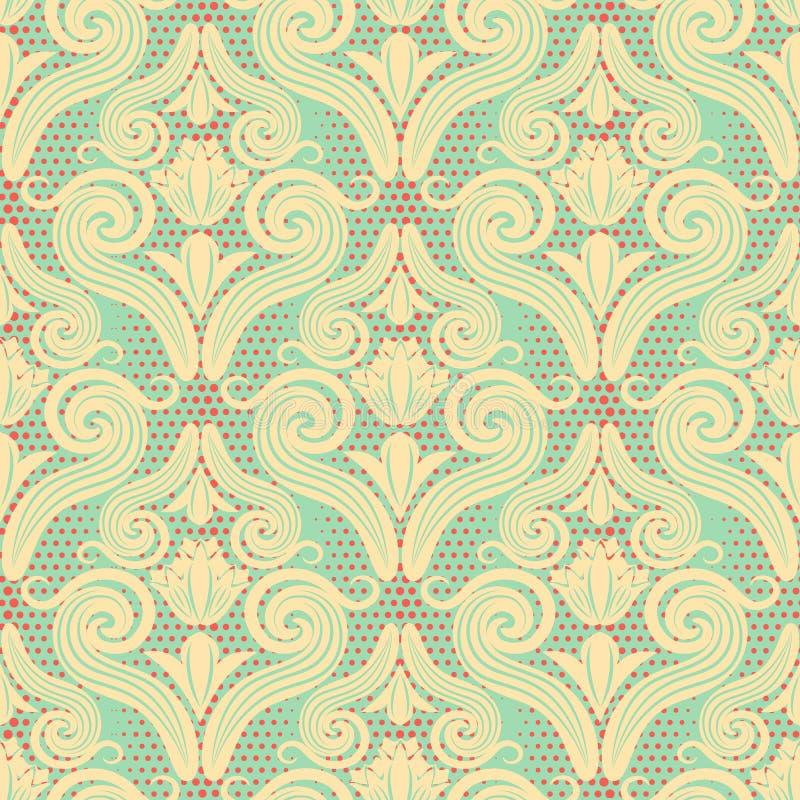 Naadloos patroon van krullen in de stijl van Damascus Mooie textuurachtergrond in uitstekende schaduwen voor behang, verpakkend d royalty-vrije illustratie