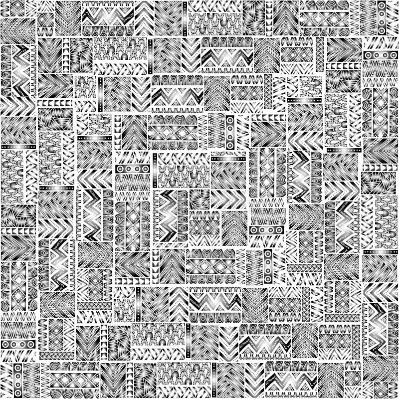 Naadloos patroon van lapwerk Elegant ornament Stammen en ethn vector illustratie