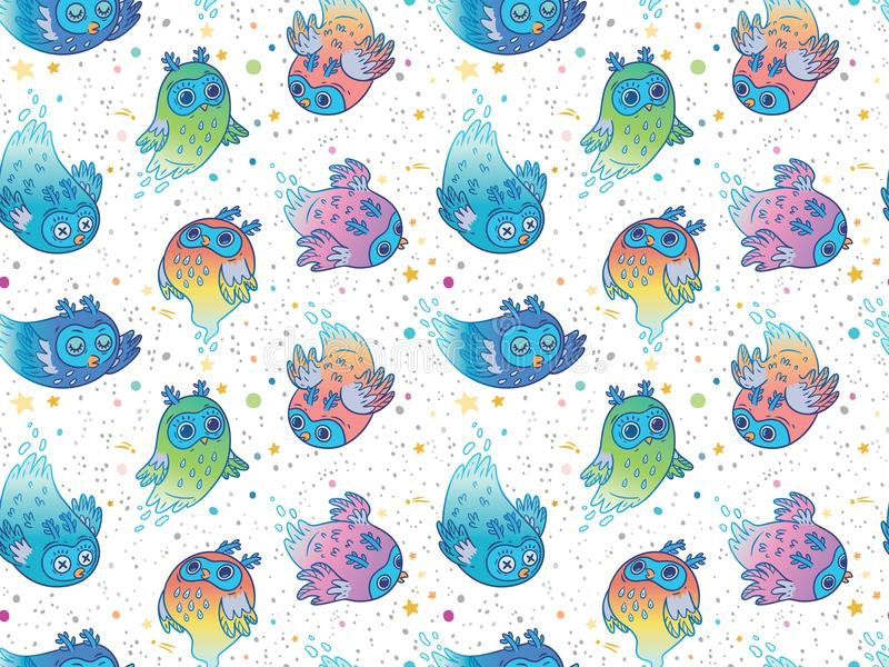 Naadloos patroon van leuke kleurrijke vectorspookuilen De stijl van het kinderenbeeldverhaal Vector illustratie vector illustratie