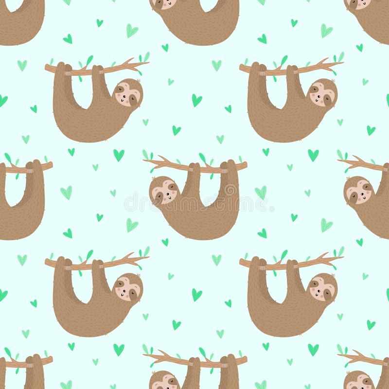 Naadloos patroon van leuke langzame luiaarden en harten Hand-drawn illustratie van luiaard voor kinderen, de tropische zomer, tex royalty-vrije stock fotografie