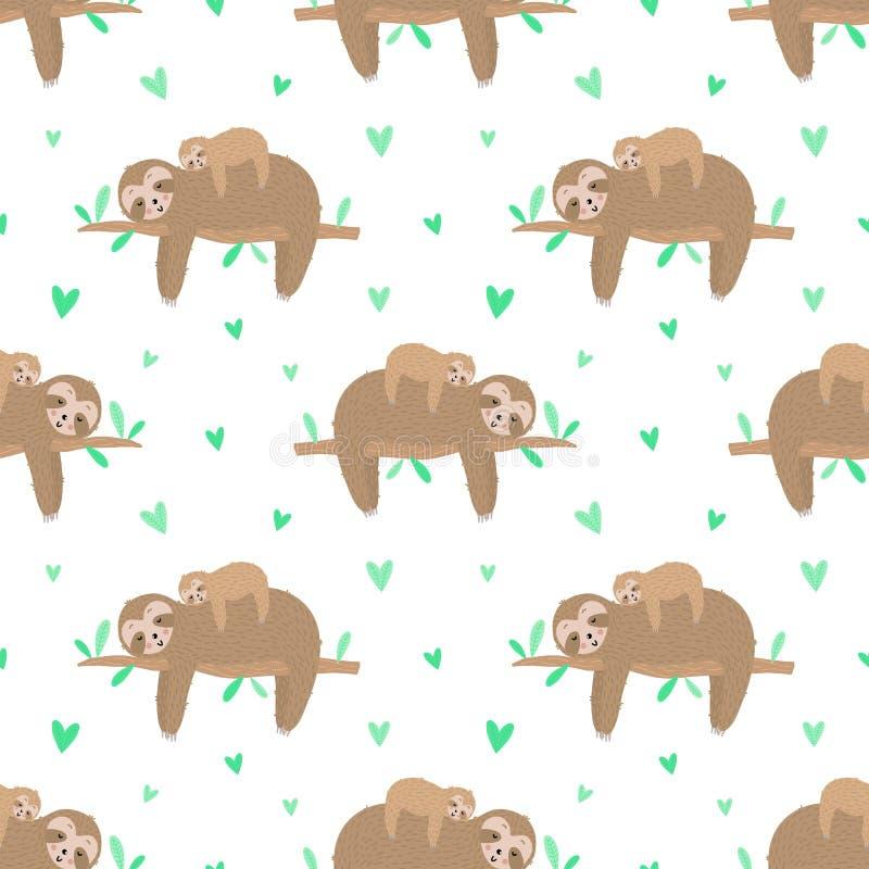 Naadloos patroon van leuke luiaard met baby en harten Hand-drawn illustratie voor jonge geitjes, de tropische zomer, textiel, dru royalty-vrije stock fotografie