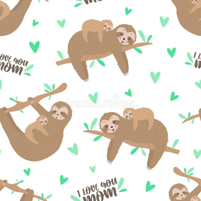 Naadloos patroon van leuke luiaarden met baby Hand-drawn illustratie van een luiaard voor jonge geitjes, de tropische zomer, text royalty-vrije stock foto