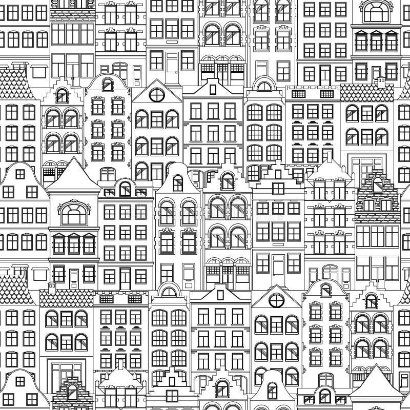 Naadloos patroon van Leuke retro huizenbuitenkant Inzameling van Europese de bouwvoorgevels Traditionele architectuur van vector illustratie