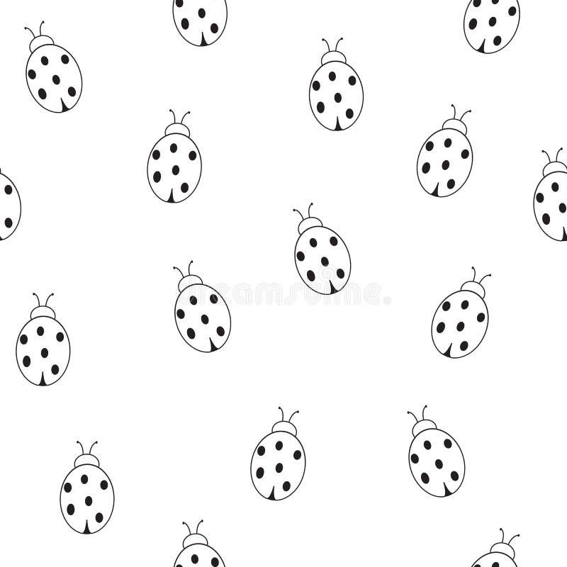 Naadloos patroon van lieveheersbeestjes op een witte achtergrond vector illustratie