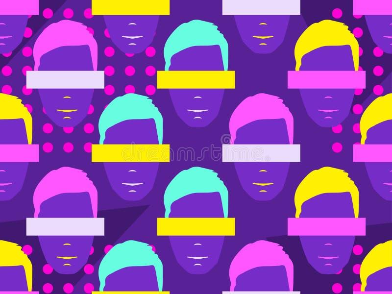 Naadloos patroon van mannelijke gezichten met elementen van pop-artstijl De kleurrijke achtergrond van de Zinecultuur Vector royalty-vrije illustratie
