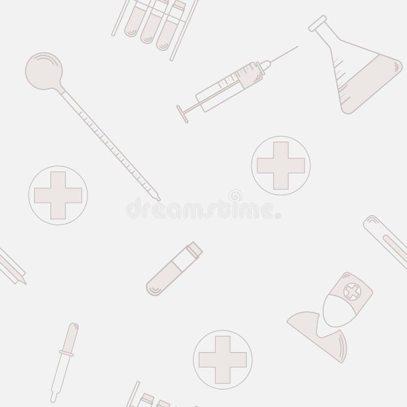 Naadloos patroon van medische laboratoriumsymbolen Vlak Ontwerp Gezondheidspictogram vector illustratie