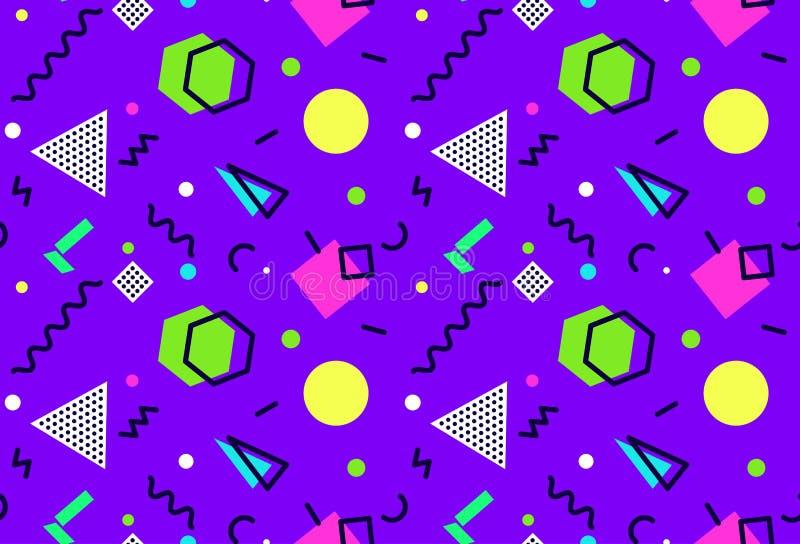 Naadloos patroon 80 van Memphis de stijlen van ` s-90 ` s op purpere achtergrond stock illustratie
