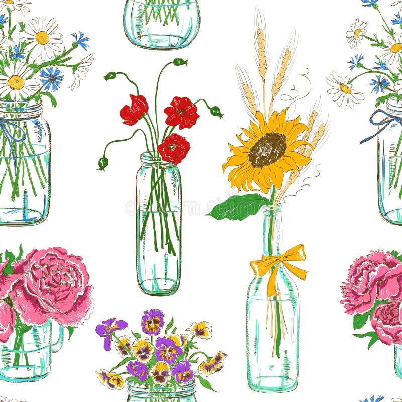 Naadloos patroon van metselaarkruiken met bloemen vector illustratie