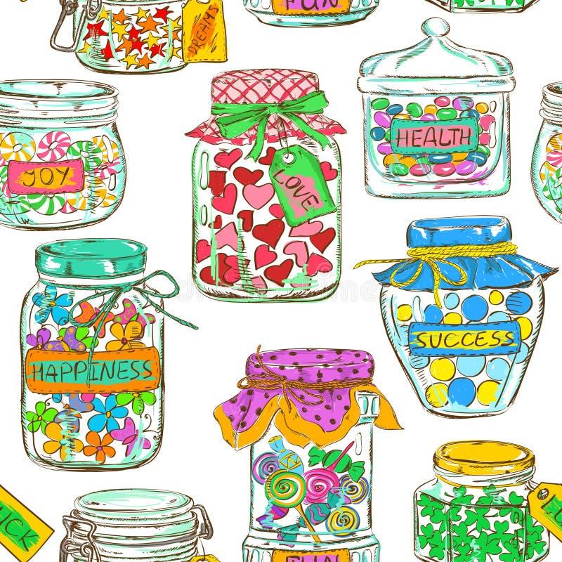 Naadloos patroon van metselaarkruiken met groetwensen royalty-vrije illustratie