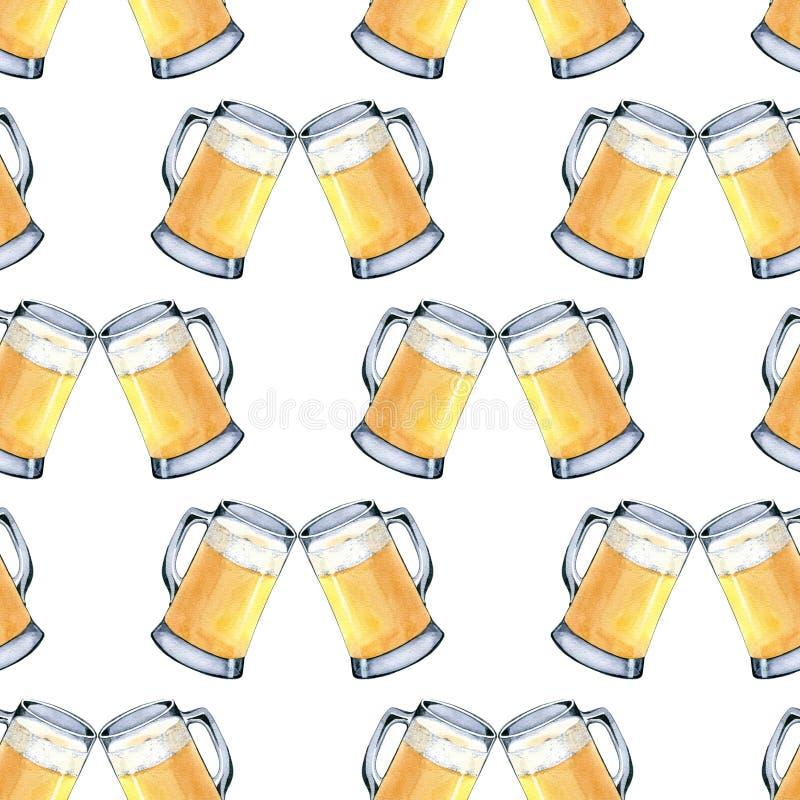 Naadloos patroon van mok licht bier Hand getrokken waterverfillustratie op witte achtergrond royalty-vrije illustratie