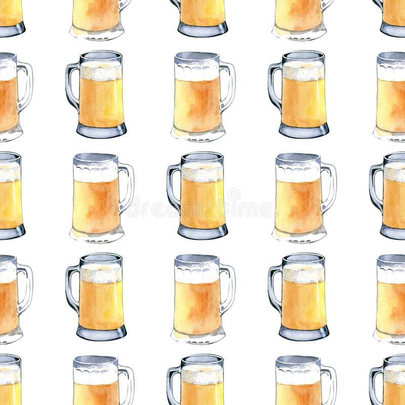 Naadloos patroon van mok licht bier Hand getrokken waterverfillustratie op witte achtergrond vector illustratie