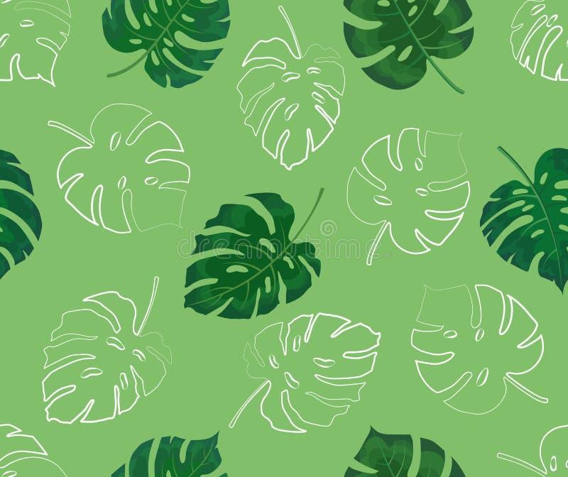 Naadloos patroon van monsterabladeren in kleur en contour vector illustratie